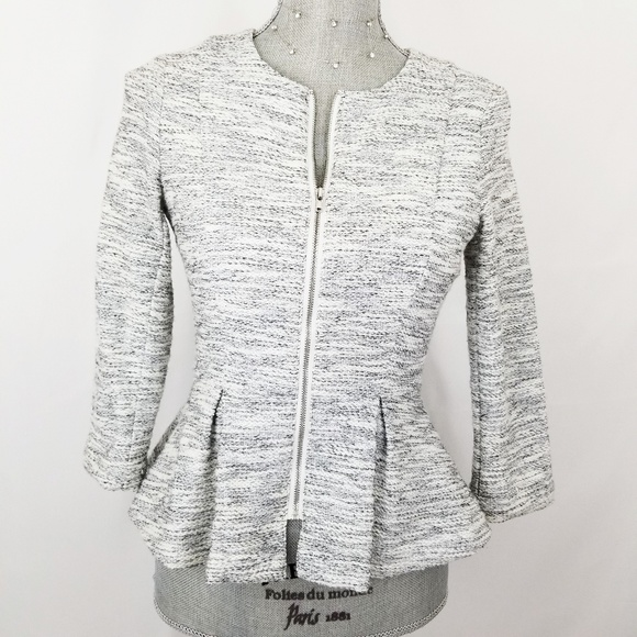 3b766e1bf52a99 Divided Jackets & Blazers - Divided by H&M gray & white tweed peplum jacket